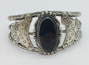 Navajo Native American Argent Sterling Pétrifié Bois Orné Biseau Bracelet Rigide