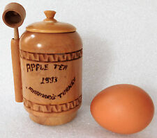 """Wooden apple tea caddy + spoon Marmaris Turkey poker work kitchen storage jar 4"""""""