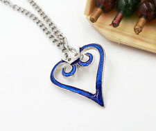 Cosplay Anime Kingdom Hearts 2 Crown Logo Pendant blue Heart Necklace Charm Gift