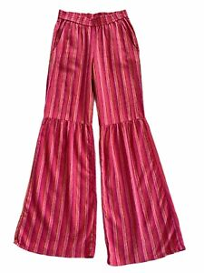 Anthropologie Size S / M Red Striped Wide Leg Flare Palazzo Elastic Pant Lagan