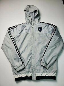 Adidas MLS San Jose Earthquakes Quakes Mens Sz XL Windbreaker Jacket Gray
