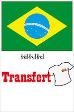 3 Transferts textile clair 25x40mm drapeau Brésil-Brazil-Brasil