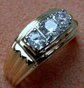 Triplet 1.5 carat 3 stone cz Mens ring 14K gold overlay size 11 T9