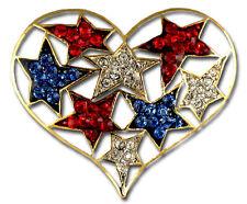 Patriotic Heart & Stars Brooch/Pin