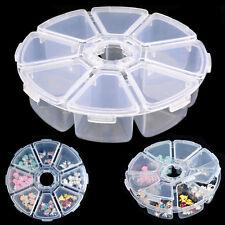 Mini 8 Grids Nail Art Beads Rhinestone Plastic Round Storage Box Organiser Case