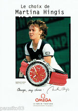 PUBLICITE ADVERTISING 096  1998   Omega montre  speedmaster auto Martina Hingis