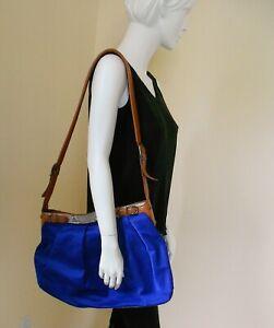 DVF DianeVonFurstenberg BLUE Leather HUGE Convertible Shoulder CrossBody Handbag