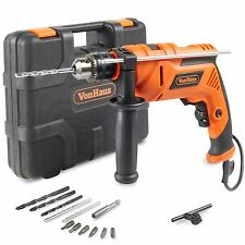 VonHaus 810W Hammer Impact Drill Auxiliary Handle 13mm 13pc Bits Set