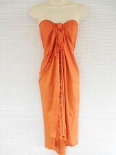 Handmade Pareo Sarong Bikini Cover Up Scarf Beach Luau Solid Color Dress Orange