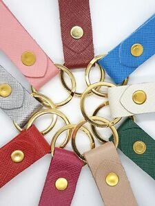 Leather Keyring Genuine Italian Saffiano Leather 9 colours key ring key holder