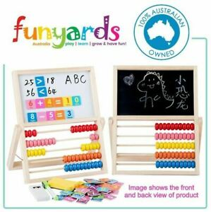 Chalk board with Abacus multi functional and drawing double sided rotates 2 in 1