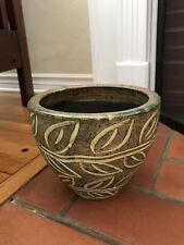 Thai Leaves Ceramic Plant Holder Flower Pot Handcrafted Handmade in Thailand