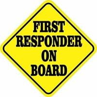 5in x 5in First Responder on Board Sticker Car Truck Vehicle Bumper Decal