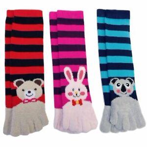 Cute Bunny Koala Bear Striped Animal Novelty Toe Socks 3 Pack