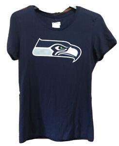 NFL Team Apparel Blue Seattle Seahawks Russell Wilson 3 Medium T-Shirt Womens