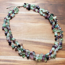 Double Strand Green and Purple Fluorite Semi-Precious Mid-Length Stone Necklace
