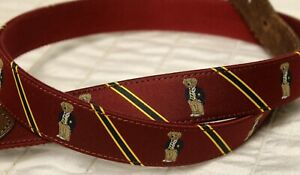 Polo Ralph Lauren Maroon Polo Bear Belt Sz 40 Fabric Adjustable Red Satin Leathe