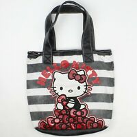 Loungefly Hello Kitty Black White Red Bows Canvas Purse Tote Bag Large