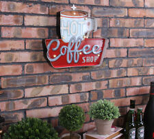 Vintage LED Light  Metal Bar Sign Hot coffee Shop Hand-painted Cafe Wall Decor