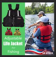 US Adult Adjustable Marine Reflective Sailing Kayak Fly Fishing Vest Life Jacket