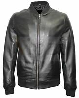 Vipzi New Men's Bomber Black Classic Soft 100% Sheep/lambskin Leather Jacket