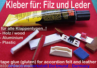 Kleber für Akkordeon Filz, Leder,Klappenbelag, gluten for accordion Felt,Leather