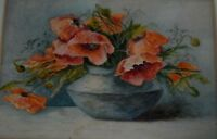 ANTIQUE ORIGINAL WATERCOLOR PAINTING FLOWERS AND VASE
