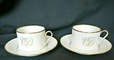 2 tasses à thé en porcelaine de Limoges monogramme CD