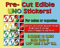 EDIBLE Uno cards Cake Stickers! cut outs side of cake Sugar topper cupcakes easy
