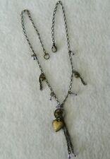 "Locket Pendant Beads Dangle 047#D- Necklace 15"" Heart"