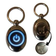 Power On/Off - Chrome Shopping Trolley Coin Key Ring New