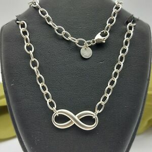 Authentic Tiffany & Co 925 Silver Infinity Curb Chain Necklace