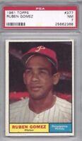 1961 Topps baseball card #377 Ruben Gomez, Philadelphia Phillies PSA 7 NM tuff!