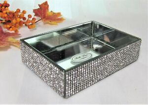 Bella Lux Crystal Mirror Full Rhinestones Soap Dish Small Tray Luxury Bath