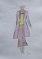 ORIGINAL MODEZEICHNUNG Modeskizze Damen fashion sketches 20-375