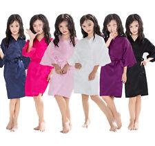 Silk Satin Flower Girls Child Kimono Robe Nightwear Wedding Gown8 dressing 4-12#
