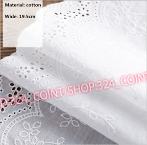 H288 1Yard Embroidery Floral Lace Trim Ribbon Cotton Fabric Wedding Sewing Craft