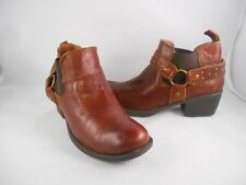 Born Brown Leather Ankle Booties Women's Size 6.5 M ; Euro 37