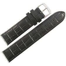 19mm Mens Fluco Kroco German Made Black Crocodile-Grain Leather Watch Band Strap