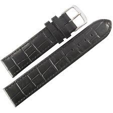 Black Crocodile-Grain Leather Watch Band Strap 19mm Mens Fluco Kroco German Made