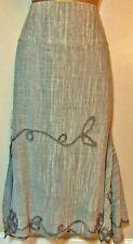 MARIELLA ROSATI Designer Italian Boho Grey Marl Skirt 14 Calf Length