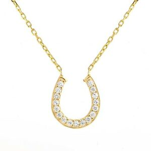 Horseshoe Lucky Necklace Sterling Silver Yellow Gold plated Boxed Gift RRP £65
