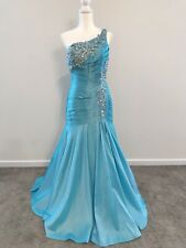 New Tony Bowls LeGala Size 12 Turquoise One-Shoulder Mermaid Style Gown