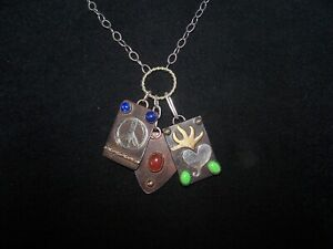RETIRED Rustic Multi Stone Charm Necklace~Sacred Heart Peace Music Pick~SERENA