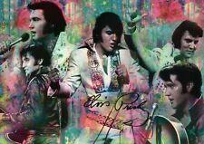 Elvis Presley Montage, Jumpsuit, Guitar, Singing, Dancing etc., Green - Postcard