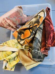 Lot of Vtg Dyed Abstract Velvet Fabric Scraps