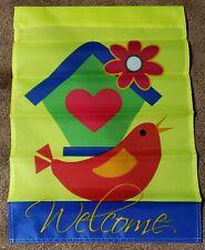 """NEW - Birdhouse & Bird Welcome - 12""""x18"""" Indoor/Outdoor Yard/Garden Flag"""