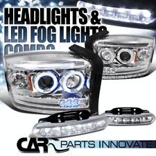 2005-2007 Dakota Chrome LED Halo Projector Headlights+6-LED Fog Bumper Lamps