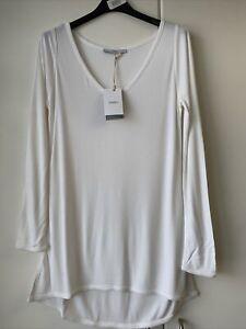 Charli Womens Top Long Sleeve T-Shirt Tunic Basic V-Neck Off White Size 8