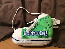 """Door Open Sign Shoe Sneaker """"Come In!"""" or """"Out Running Around"""" Hanging Decor"""